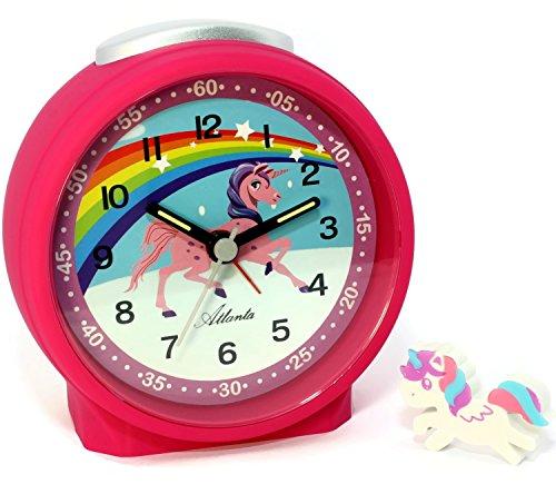 Kinderwecker Mädchen ohne Ticken Pink Einhorn Radiergummi - 1981-17 Rad