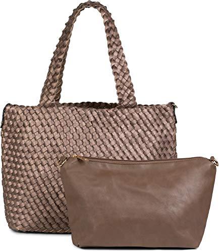 styleBREAKER XXL Wendetasche in Flecht-Optik, Shopper Tasche, 2 Taschen, Handtaschen Set, Bag in Bag, Schultertasche, Damen 02012163, Farbe:Bronze/Braun