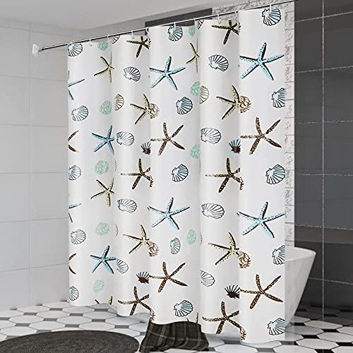 BXYLFF Duschvorhang 180x180, Wasserabweisend Waschbar Anti-Schimmel Duschvorhäng Anti-Bakteriell aus PEVA für Badewanne für Dusche mit 12 Duschvorhängeringen, Blaue Unterwasserwelt, Weiß, Seesterne