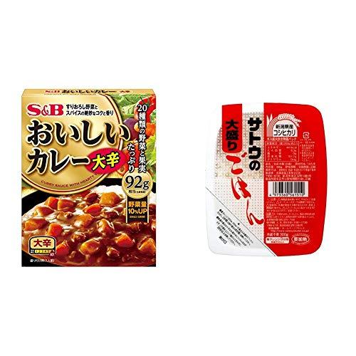 【セット販売】S&B なっとくのおいしいカレー 大辛 180g×6個 + サトウのごはん 新潟県産コシヒカリ大盛 300g×6個