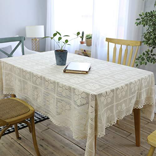 ZYT Antifouling y Resistente a la abrasiónRetro nostálgico Crochet Hecho a Mano Crochet sofá Toalla/algodón Tejido Hueco Mantel Beige 140 * 200cm