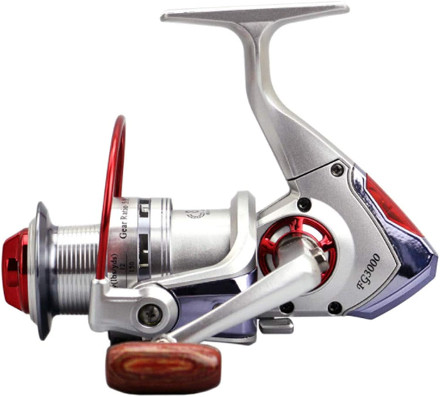 Carriemeow Spinning Fishing Reel 8+1 Bearings Left Right Interchangeable Handle for Saltwater Freshwater Fishing with Double Drag Brake System and LED Alarm