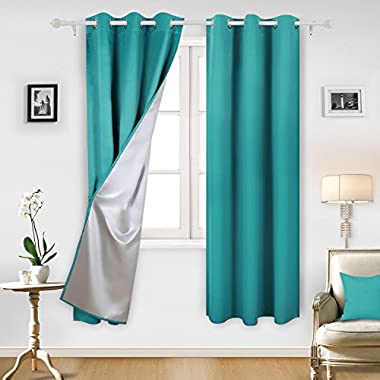 Deconovo Teal Blackout Curtains Grommet Top Curtains with Silver Coating for Kitchen 42 By 84 Inch Turquoise/Teal 2 Panels