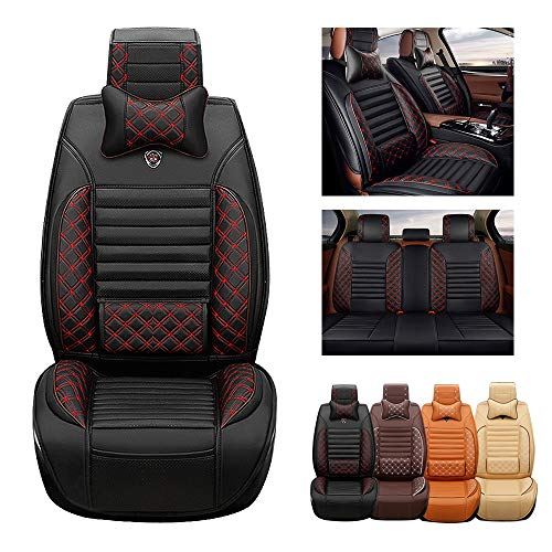 ytbmhhuoupx for Dodge RAM 1500 2500 5-Seats Car Seat Covers PU Leather Waterproof Seats Cushion fit All Season - Full Set & 2 Pillows Luxury Edition Black red