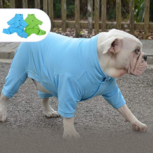 Lovelonglong Dog Cotton Pajamas Elastic Warm Pet Turtleneck Sweater 4 Legs Full Covered Onesie Jumpsuit for Pugs French Bulldog Medium Dogs, All Weather Available SkyBlue B-M