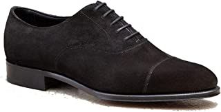 Costoso Italiano Black Suede Formal Lace Up Toe Cap Oxford Dress Goodyear Welted Shoes for Men