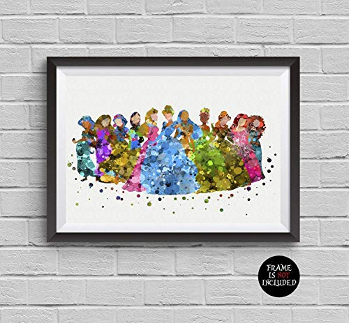 Disney Princess Watercolor Print Belle Cinderella Snow White Ariel Elsa Poster Artwork Wall Art Home Decor Wall Hanging