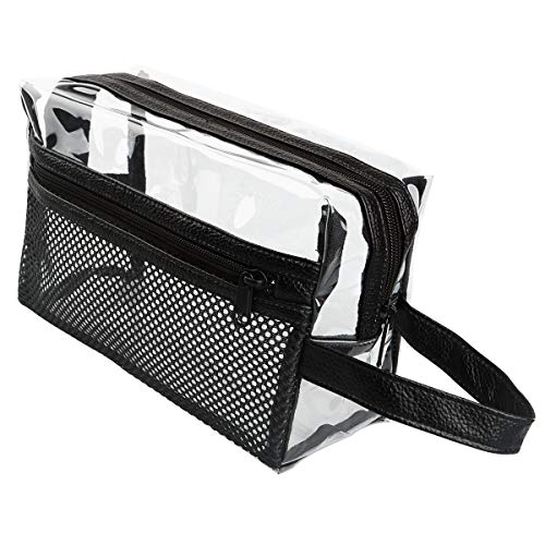 Heavy Duty Clear Toiletry Makeup Bags Transparent Shaving Bag Water Resistant Cosmetic Bag Organizer Pouch for Travel with Zipper and Handle (Black With Net Pocket)