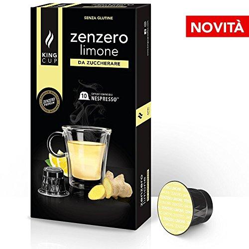 King Cup - Zenzero e Limone da Zuccherare - 1 Confezioni da 10 Capsule Compatibili Nespresso®* ( 10 capsule )