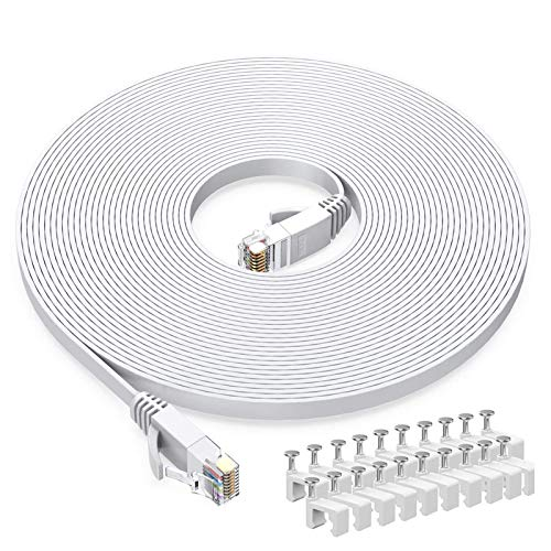 Cat6 Ethernet Cable 60 FT White, BUSOHE Cat-6 Flat RJ45 Computer Internet LAN Network Ethernet Patch Cable Cord - 60 Feet