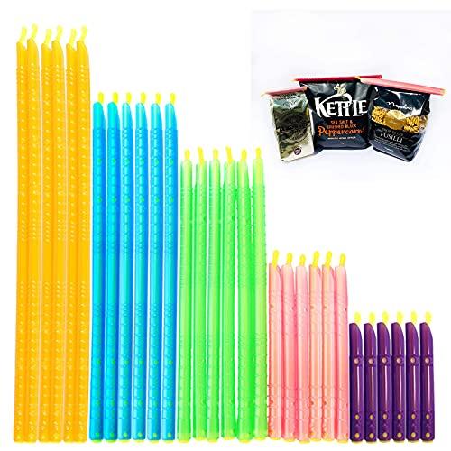 Aohcae Plastic Bag Sealer Clips Sticks,30 Pcs Bag Sealer Sealing Clips Sticks Keeps Food, Chips, Salad Holders Fresh, Reusable Clip Sticks Bag Closure(5 Colors)