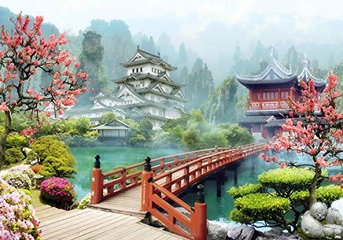 wandmotiv24 Fototapete Asien Dorf Japan, XL 350 x 245 cm - 7 Teile, Fototapeten, Wandbild, Motivtapeten, Vlies-Tapeten, Bonsai-Baum, Kirschblüte, Fresko M1072