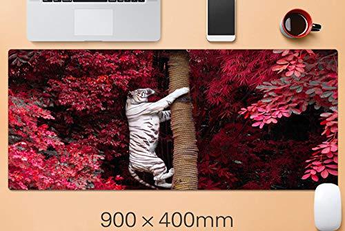 alfombrilla de ratón teclado White Tiger Climbing Tree Alfombrilla de ratón para juegos de gran tamaño xxl Alfombrilla de teclado Alfombrilla de escritorio de oficina Antideslizante Impermeable Suave