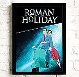 Roman Holiday Classic TV Filmplakat Wandkunst Bilder Leinwandbilder für die Wohnzimmerdekoration 40cm x 60cm ohne Rahmen