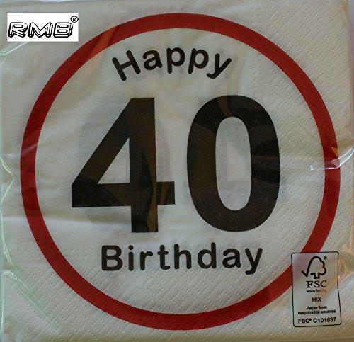 Rmb tovaglioli Happy Birthday con numero, weiß, 40