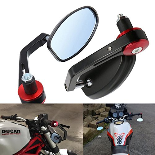 """Vize Specchietti retrovisori per moto laterali manubrio rosso, 7/8"""" 22 mm, motivo nero"""