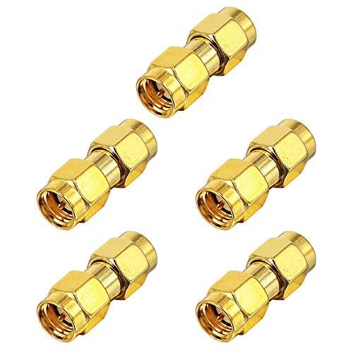 BOOBRIE Adaptador coaxial RF SMA macho a SMA macho adaptador conector coaxial para antena de audio FPV, radio y vídeo, paquete de 5