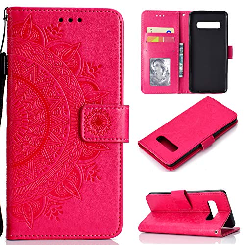 LODROC Galaxy S10 Hülle, TPU Lederhülle Magnetische Schutzhülle [Kartenfach] [Standfunktion], Stoßfeste Tasche Kompatibel für Samsung Galaxy S10/G973F - LOHH0500681 Rot