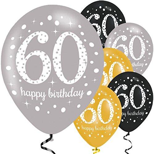 Feste Feiern Luftballon Deko 60. Geburtstag | 6 Teile Zahlenballon Ballon Gold Schwarz Silber metallic Helium Party Set Happy Birthday 60 Jubiläum