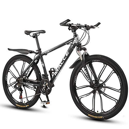 26 Zoll Mountainbike, Scheibenbremsen Hardtail MTB, Trekkingrad Herren Bike Mädchen-Fahrrad, Vollfederung Mountain Bike, 27 Speed,Schwarz,ten cutter wheel