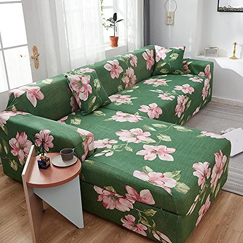 Funda de sofá de Esquina elástica en Forma de L, Funda de sofá con celosía Impresa, Fundas de sofá para Sala de Estar, A1, 4 plazas