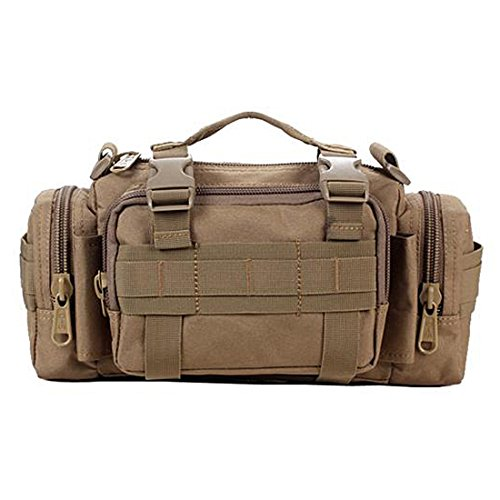 Yihya Nylon Militaire multi-fonctionnelle Tactique Assault Messenger Bag Sac à Dos Sac de Ceintur pour les Sports de Plein Air Aventure Escalade & Riding Bag Pouch Sac de Voyage --- Waist Pack-kaki
