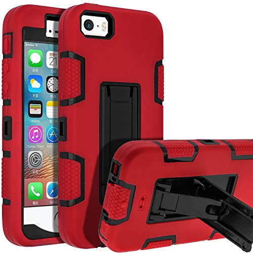 5s iPhone Case,iPhone SE Case,iPhone 5 Case,SENON Shockproof Anti-Scratch Anti-Fingerprint Kickstand Protective Case Cover for Apple iPhone SE/5S/5, Red