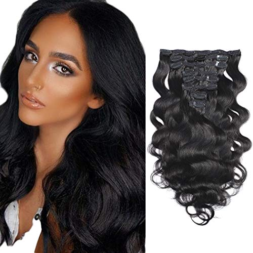 RACILY Clip in Hair Extensions Brazilian Body Wave 100% Unprocessed Virgin Human Hair Cheap 8 Pieces/Lot 125g with 16 Clips