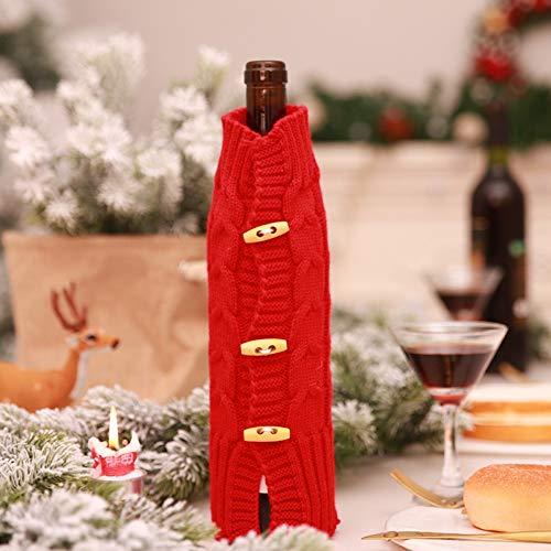 QWERGLL Decoracin Navidea Champagne De Punto Botella De Vino Tinto Sombrero Sombrero Ropa Cena De Navidad Decoracin De Mesa para El Hogar
