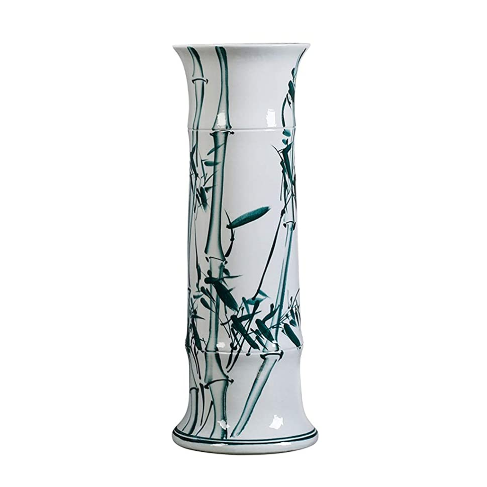 きらめく専門化する兵器庫花瓶 ベース白18のx 47センチメートルと装飾芸術ホーム家庭リビングルームベッドルームオフィステーブル用セラミック花瓶古典インク竹シンプル