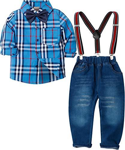 Zoerea Abbigliamento Set per Bambino Ragazzo Camicie a Quadri Manica Lungo + Pantaloni + Bretelle + Papillon Bambini 4 Pezzo Set Vestiti per Formale Gentleman