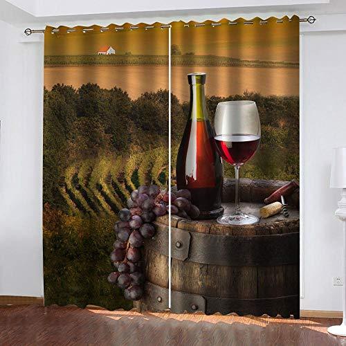 XTBDWOSN Cortinas opacas para sala de estar creativas de pastizales y paisajes de vino, cortinas opacas impresas en 3D, juego de 2 paneles, cortinas de poliéster con aislamiento térmico