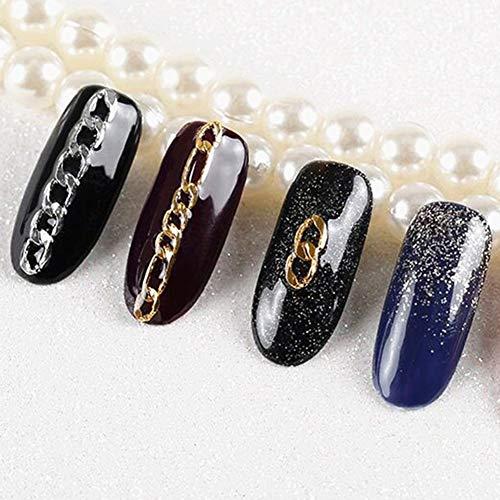 AchidistviQ Fashion 3D Metal Nail Art Chaîne de décorations à ongles à rayures Bijoux DIY Outil de manucure Chaîne à perles Chaîne à ongles + Pince Coude Set 12 boîtes rectangulaires Doré