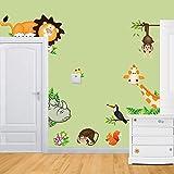 Rainbow Fox - Pegatinas adhesivas de vinilo para pared con diseños de animales salvajes de la jungla (león, jirafa, mono) para habitaciones infantiles y de bebé