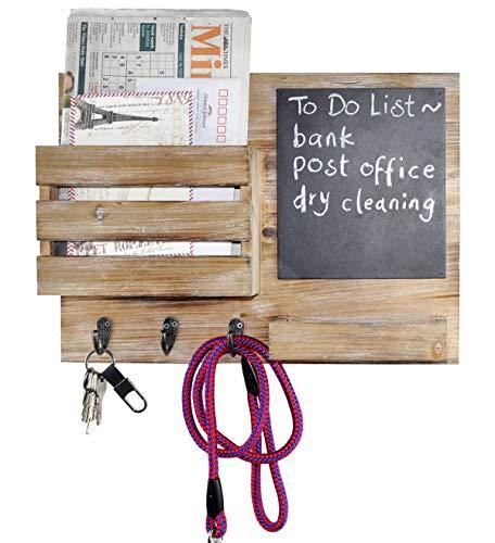 DUCIHBA Wall Mount Entryway Key Holder Hooks, Leash Hanging, Coat Rack, Mail Envelope Organizer, Letter Sorter, Newspaper Storage, Chalkboard, Message Memo Board, Farmhouse Rustic Wood- Gray