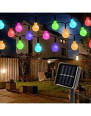 Mitening Led-lichtsnoer op zonne-energie, 7M 50LED 8Modi Berijpt Lichtketting IP65 Waterdicht Gloeilamp Met Lichtsensor Kristallen Bollen Voor Buiten Tuinhuwelijk Terras Feestdecoratie(Kleurrijk)