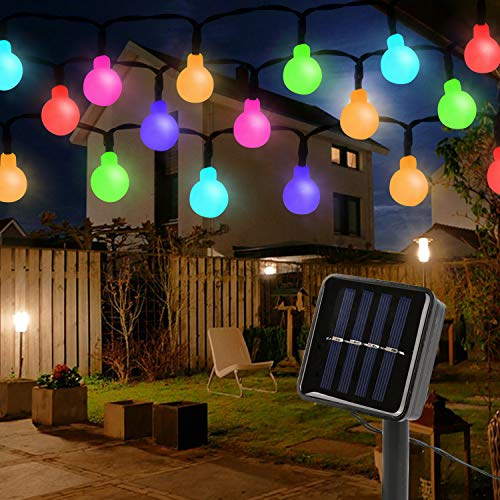 Mitening Solar Lichterkette Aussen, 7M 50 LED 8 Modi Lichterkette Außen Wasserdicht Bunt Globe für Garten Balkon Bäume Schlafzimmer Kinderzimmer Hochzeiten Weihnachten Partys [Energieklasse A+++]
