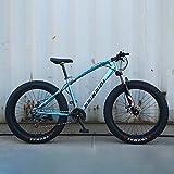 AURALLL Mountain Bikes, Fat Tire Hardtail VTT, Tout Terrain VTT avec Suspension Avant Siège réglable (7 Vitesses 24' 26 Pouces),Bleu,7speed 26 inch