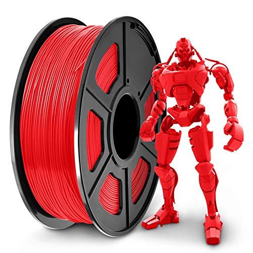 SUNLU PLA+ Filament 1.75mm for 3D Printer & 3D Pens, 1KG (2.2LBS) PLA+ 3D Printer Filament Tolerance Accuracy +/- 0.02 mm, Red
