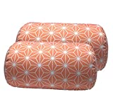 Bookishbunny 2pcs Micro Bead Roll Pillow Cushion for Bed Back Neck Head Body Support, 12' x 7', Various Designs (Firework Orange)