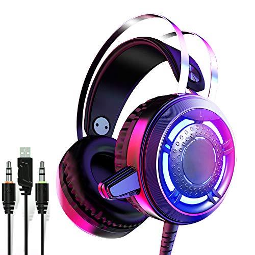 Over Ear Hoofdtelefoon Bedraad Bass Headset Surround Stereo Opvouwbare Hoofdtelefoon met Microfoon voor PC/TV Desktop Professionele Gaming, Zwart LED licht