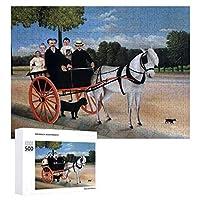 INOV アンリ・ルソー著荷馬車 ジグソーパズル 木製パズル 500ピース キッズ 学習 認知 玩具 大人 ブレインティー 知育 puzzle (38 x 52 cm)