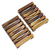 KEESIN Eco Natürliche Bambus Seifendose,Holz Seifenschale Halter, für Badezimmer Dusche...
