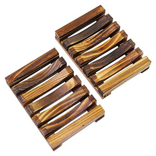 KEESIN Eco Natürliche Bambus Seifendose,Holz Seifenschale Halter, für Badezimmer Dusche Rechteckige Waschbecken Abtropffläche Hand Handwerk,2 Pack