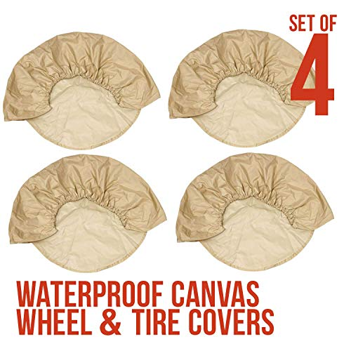 TCP Global Set of 4 Oxford Waterproof Canvas Wheel Tire Covers for RV Auto Truck Car Camper Trailer 27'-29' Diameter