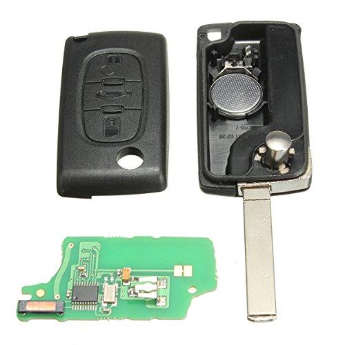 Katur Coque de clé de verrouillage à distance pour voiture 3 boutons avec pile et puce ID46 pour voiture Peugeot Citroën et Berlingo 433 MHz