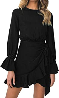 Womens Long Sleeve Round Neck Ruffles Wrap Dresses Party...