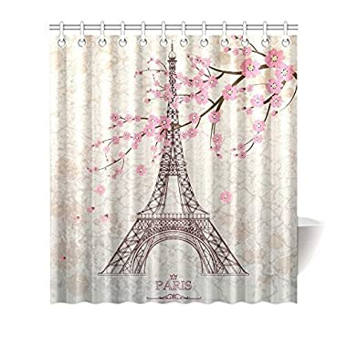 Leiacikl22 66 (w) x 72 (h) Vintage Floral Paris Eiffel Tower Theme Painting Bathroom Shower Curtain Shower Rings Included, Polyester