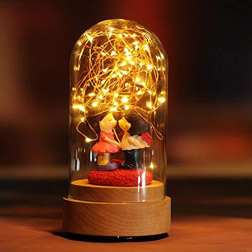 Lampen Nachttischlampen Nachtlichter Buchlampe Tischlampe Feuer Baum Silber Blume Nordic Kreative Tischlampe Hochzeitsgeschenk Geburtstag @ Innocent Lover_Charging + Normaler Schalter + Rotationsmusik