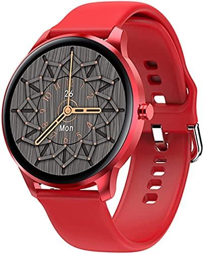 MHPO Nuevo reloj inteligente mujeres IP68 impermeable pantalla táctil completa monitor de ritmo cardíaco presión arterial smartwatch hombres aluminio caso-silicona rojo